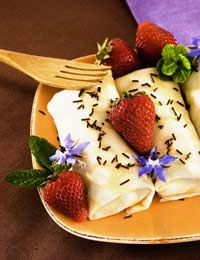 plate of delicious food with straberries - cooking with borage